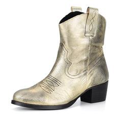 Ботинки Золотые казаки из кожи Respect