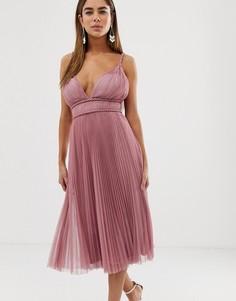 Платье миди из тюля с глубоким вырезом ASOS DESIGN-Розовый