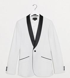 Белый пиджак в стиле смокинга с черными лацканами ASOS DESIGN Tall-Черный