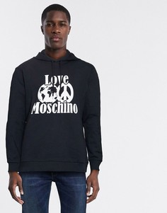 Худи с символом мира Love Moschino-Черный