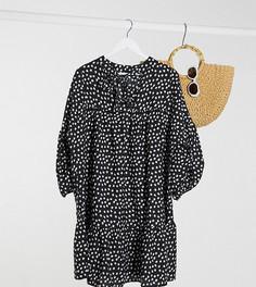 Платье ярусного кроя в горошек Influence Plus-Черный