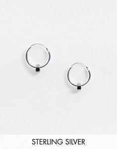Серебряные серьги-кольца с контрастными гайками ASOS DESIGN-Серебряный