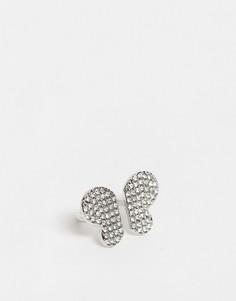 Серебристое кольцо в виде бабочки с кристалламиASOS DESIGN-Серебряный