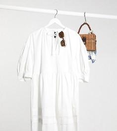 Свободное платье с пышными рукавами Influence Plus-Белый