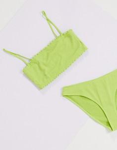 Зеленый бикини-топ из переработанного полиэстера Monki