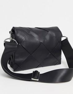 Черная плетеная кожаная сумка & Other Stories-Черный