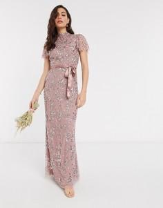 Розовоеплатье макси с цветочнойотделкой и атласным поясом Maya-Розовый