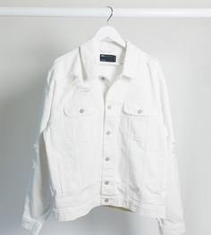 Белаяджинсовая курткас рваной отделкой ASOS DESIGN Plus-Белый