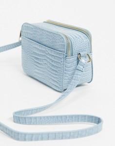 Голубая сумка через плечо из искусственной крокодиловой кожи Pimkie-Синий