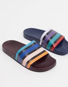 Непарные шлепанцы с разноцветными полосами adidas Originals-Мульти