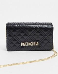 Черная стеганая сумка на плечо Love Moschino-Черный