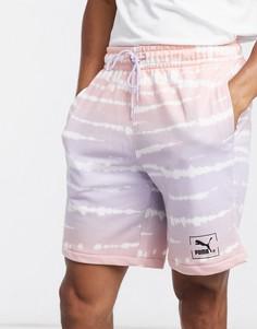 Лавандовые шорты с принтом тай-дай Puma-Фиолетовый