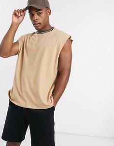 Бежевая футболка oversized без рукавов с кантом ASOS DESIGN-Бежевый