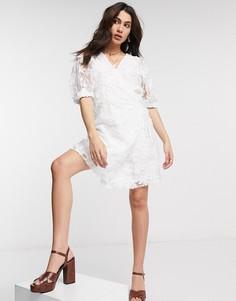 Белое платье из органзы с запахоми пышными рукавами Object-Белый