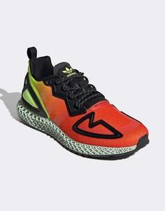 Красно-желтые кроссовки adidas Originals ZX 4D-Желтый