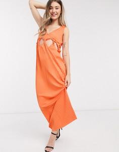 Оранжевое платье макси с глубоким вырезом и узелками на талии ASOS DESIGN-Оранжевый