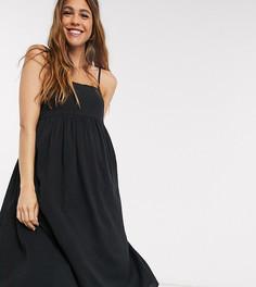 Черный сарафан миди на бретельках ASOS DESIGN Maternity