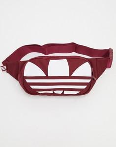 Бордовая сумка-кошелек на пояс с крупным логотипом adidas Originals-Красный