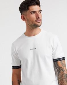 Белая футболка с логотипом по краю рукавов Calvin Klein-Белый