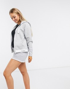 Серый хлопковый худи для дома Calvin KleinModern