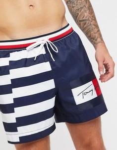 Темно-синие шорты для плавания с полосками и логотипом Tommy Hilfiger-Темно-синий