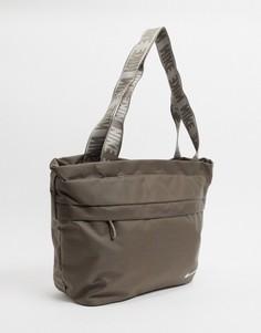 Светло-бежевая сумка-тоут с логотипом-галочкой Nike-Зеленый