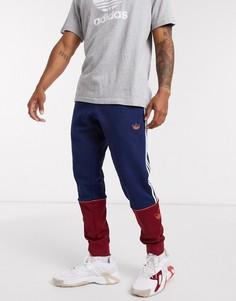 Сине-бордовые джоггеры с3 полосками adidas Originals-Темно-синий