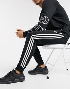 Черные джоггеры скинни с 3 полосками adidas Originals-Черный