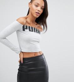 Топ с открытыми плечами и логотипом Puma эксклюзивно для ASOS-Серый