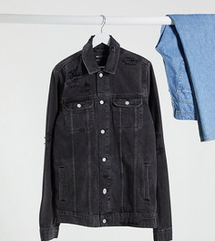 Черная джинсовая куртка со рваной отделкой ASOS DESIGN Tall-Черный