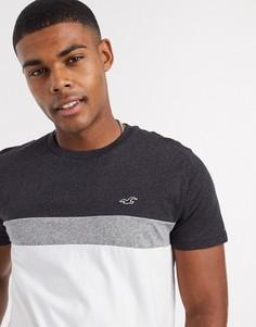Черно-белая футболка в стиле колор блок Hollister-Белый