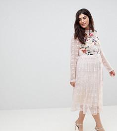 Приталенное платье из кружева с вышивкой Frock And Frill Plus Premium-Розовый