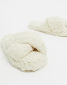 Кремовые слиперы с перекрестными ремешками из искусственного меха ASOS DESIGN-Белый