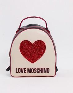 Рюкзак с логотипом-сердцем Love Moschino-Кремовый