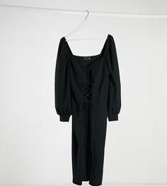 Черное платье мини со шнуровкой спереди ASOS DESIGN Curve-Черный
