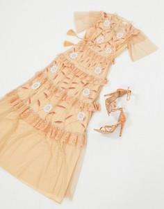 Ярусное платье макси персикового цвета с короткими рукавами Frock & Frill-Розовый