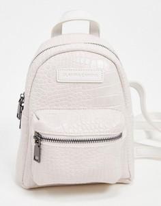Белый рюкзак с карманом и крокодиловым рисунком Claudia Canova