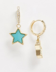 Золотистые серьги со стразами и голубой подвеской-звездой ASOS DESIGN-Золотой