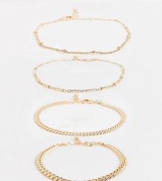 Набор узких браслетов из цепочек Reclaimed Vintage inspired-Золотой