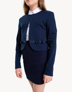 Тёмно-синий жакет с бантиками для девочки Gloria Jeans