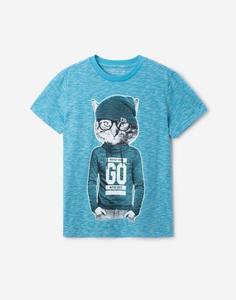 Голубая футболка с принтом для мальчика Gloria Jeans
