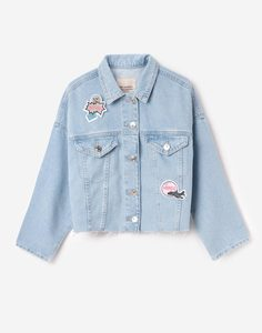 Джинсовая куртка с нашивками в комплекте для девочки Gloria Jeans