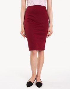 Бордовая юбка-карандаш с разрезом Gloria Jeans