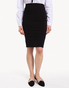 Чёрная классическая юбка-карандаш с разрезом Gloria Jeans