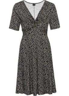Длинные платья Платье из трикотажа с принтом и драпировкой Bonprix