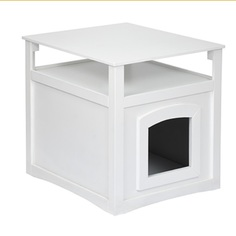 Столик прикроватный QY с домиком для животных, белый глянец 50*47*47см