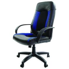 Кресло компьютерное Brabix Strike EX-525 экокожа Black/ткань Blue (531380)