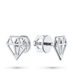 Пусеты из серебра с бриллиантом э0601пс07172100 ЭПЛ Якутские Бриллианты