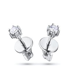 Пусеты из белого золота с бриллиантами э0901пс01163300 ЭПЛ Якутские Бриллианты