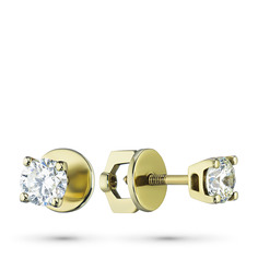 Пусеты из желтого золота с бриллиантами э0301пс11102200 ЭПЛ Якутские Бриллианты